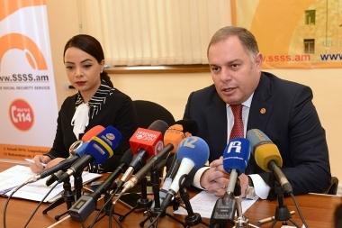 Head of the State Social Protection Service of the RA Ministry of Labor and Social Affairs Hovhannes Sahakyan gave a press conference to mark his first 100 days in office - Photolure News Agency