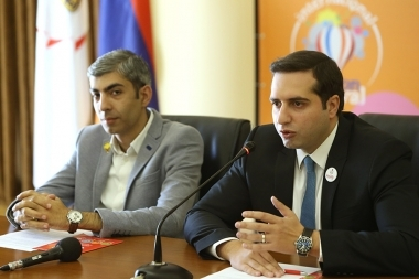Head of the Department of Advertising and External Formation of the Municipality of Yerevan Araz Baghdasaryan and Director of 'Skyball' company Nairi Barseghyan presented the events organized within the framework of 'Erebuni-Yerevan 2799' - Photolure News Agency