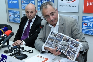 First Deputy Chairman of the State Committee of Tourism Mekhak Apresyan and director of 'Berlin Art Hotel' Alexan Ter-Minasyan are guests in Armenpress press club - Photolure News Agency