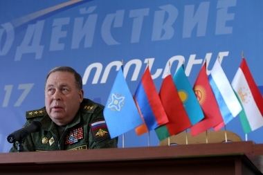 CSTO Chief of Joint Staff Anatoly Sidorov holds a briefing within the framework of 'Search 2017' military exercise in Hoktemberyan, Armenia - Photolure News Agency