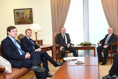 RA Minister of Foreign Affairs Edward Nalbandyan received the OSCE Minsk Group Co-Chairs, Ambassadors Igor Popov of Russia, Andrew Schofer of the U.S. and Pierre Andrieu of France - Photolure News Agency