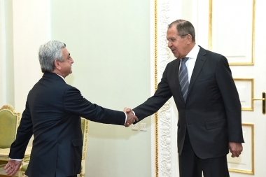 RA President Serzh Sargsyan received Minister of Foreign Affairs of Russia Sergey Lavrov at the RA Presidential Palace - Photolure News Agency