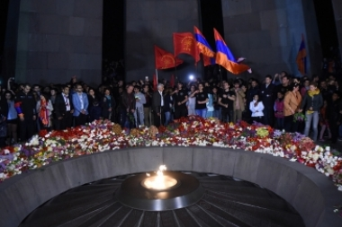 Thousands of people after the torchlight procession in commemoration of the 102nd anniversary of the Armenian Genocide stayed in the Armenian Genocide memorial complex in Yerevan, Armenia - Photolure News Agency